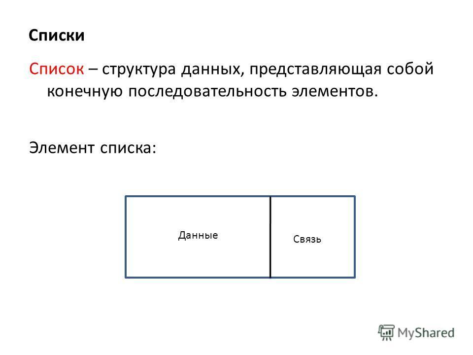 Списки Список – структура данных, представляющая собой конечную последовательность элементов. Элемент списка: Данные Связь