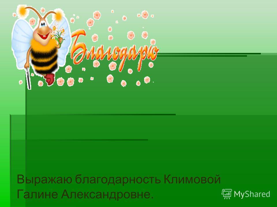 Выражаю благодарность Климовой Галине Александровне.