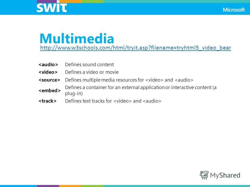 Multimedia Defines sound content Defines a video or movie Defines multiple media resources for and Defines a container for an external application or interactive content (a plug-in) Defines text tracks for and http://www.w3schools.com/html/tryit.asp?