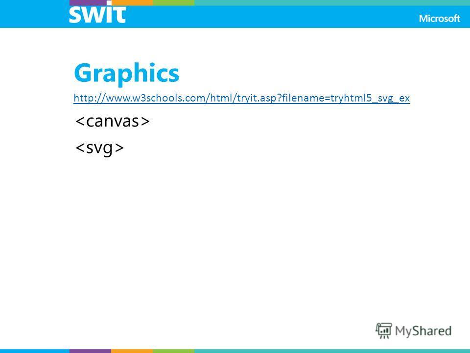 Graphics http://www.w3schools.com/html/tryit.asp?filename=tryhtml5_svg_ex