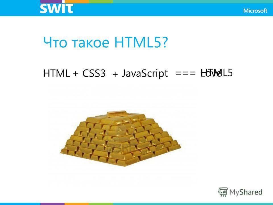 Что такое HTML5? HTML+CSS3 + JavaScript === Love HTML5