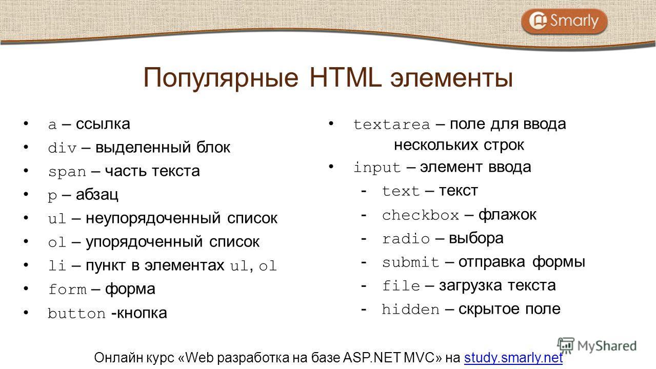 Онлайн курс «Web разработка на базе ASP.NET MVC» на study.smarly.netstudy.smarly.net a – ссылка div – выделенный блок span – часть текста p – абзац ul – неупорядоченный список ol – упорядоченный список li – пункт в элементах ul, ol form – форма butto