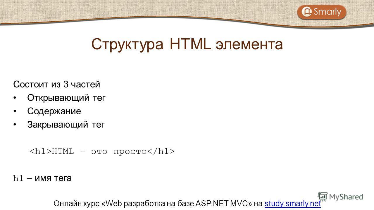 Онлайн курс «Web разработка на базе ASP.NET MVC» на study.smarly.netstudy.smarly.net Состоит из 3 частей Открывающий тег Содержание Закрывающий тег HTML – это просто h1 – имя тега Структура HTML элемента