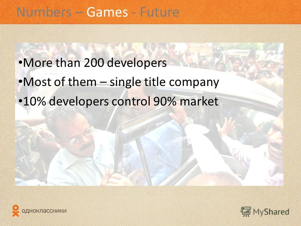 Numbers – Games - Future More than 200 developers Most of them – single title company 10% developers control 90% market