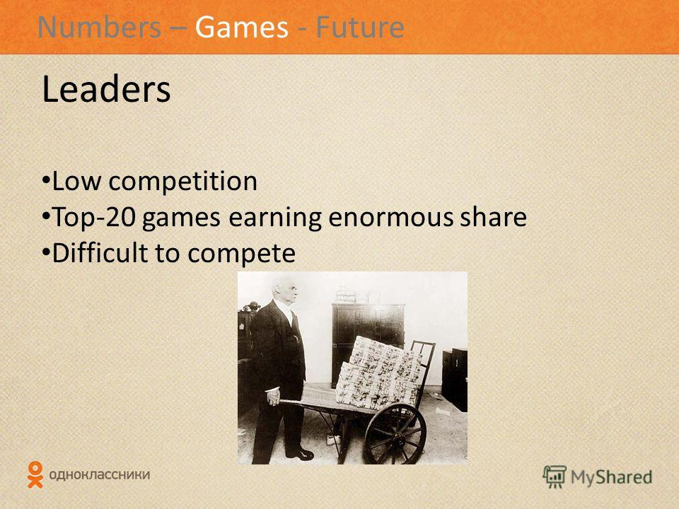 Numbers – Games - Future Low competition Top-20 games earning enormous share Difficult to compete Leaders