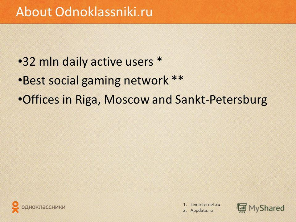 32 mln daily active users * Best social gaming network ** Offices in Riga, Moscow and Sankt-Petersburg About Odnoklassniki.ru 1.Liveinternet.ru 2.Appdata.ru