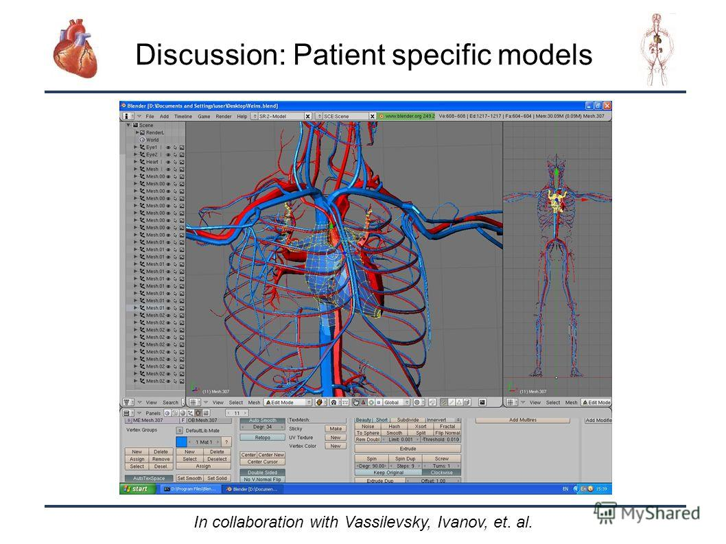32 Discussion: Patient specific models In collaboration with Vassilevsky, Ivanov, et. al.