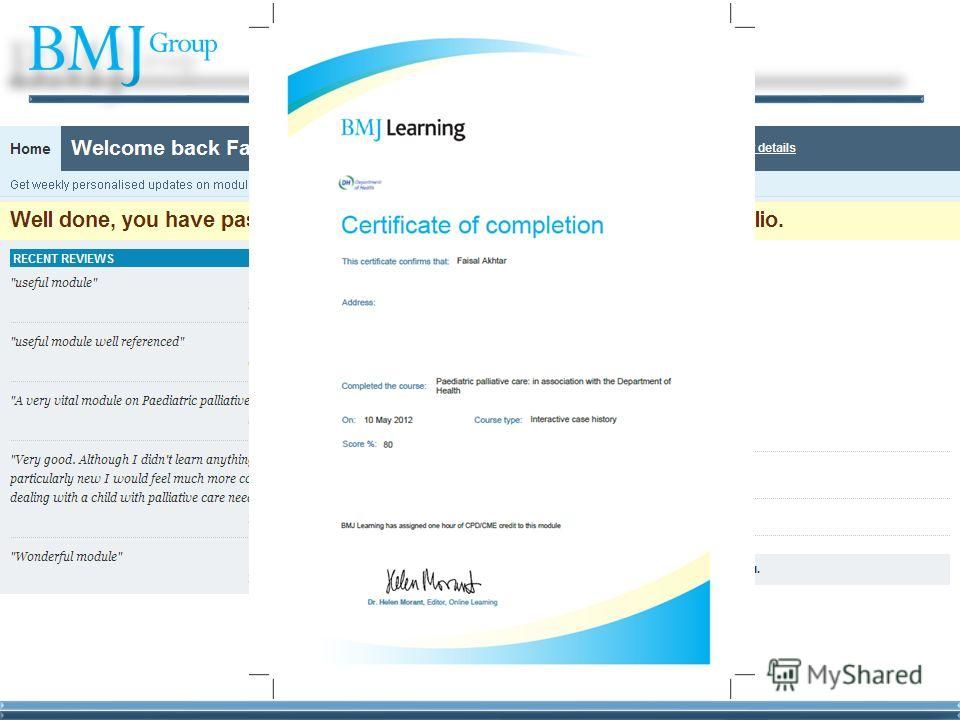 BMJ Learning Certificate