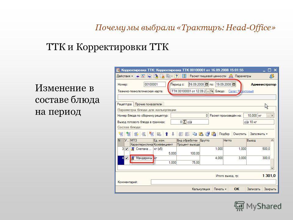 Почему мы выбрали «Трактиръ: Head-Office» Изменение в составе блюда на период ТТК и Корректировки ТТК