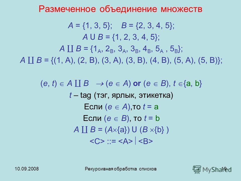 10.09.2008Рекурсивная обработка списков19 Размеченное объединение множеств A = {1, 3, 5}; B = {2, 3, 4, 5}; A U B = {1, 2, 3, 4, 5}; A B = {1 A, 2 B, 3 A, 3 B, 4 B, 5 A, 5 B }; A B = {(1, A), (2, B), (3, A), (3, B), (4, B), (5, A), (5, B)}; (e, t) A