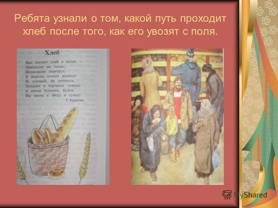 Ребята узнали о том, какой путь проходит хлеб после того, как его увозят с поля.
