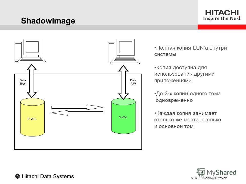 © 2007 Hitachi Data Systems ShadowImage P-VOL S-VOL Data R/W Data R/W Полная копия LUNа внутри системы Копия доступна для использования другими приложениями До 3-х копий одного тома одновременно Каждая копия занимает столько же места, сколько и основ