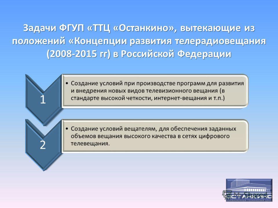 Задачи ФГУП «ТТЦ «Останкино», вытекающие из положений «Концепции развития телерадиовещания (2008-2015 гг) в Российской Федерации