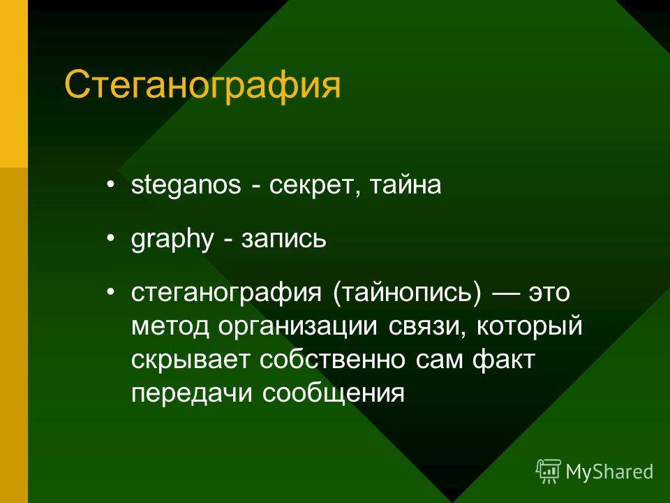 Стеганография steganos - секрет, тайна graphy - запись стеганография (тайнопись) это метод организации связи, который скрывает собственно сам факт передачи сообщения