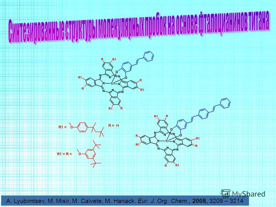 A. Lyubimtsev, M. Misir, M. Calvete, M. Hanack. Eur. J. Org. Chem., 2008, 3209 – 3214