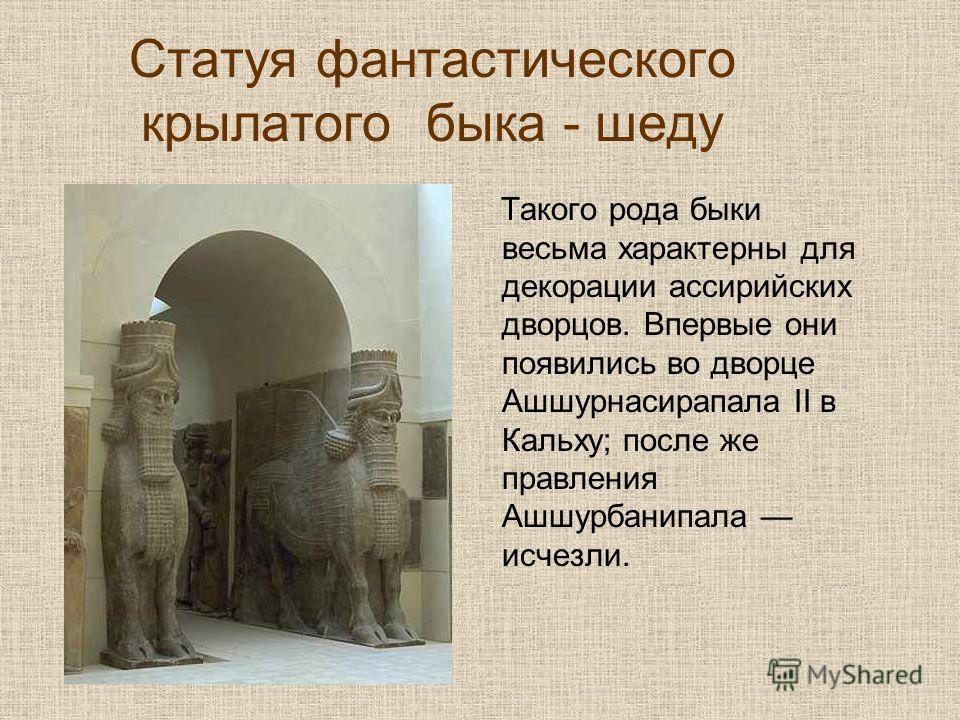 Статуя фантастического крылатого быка - шеду Такого рода быки весьма характерны для декорации ассирийских дворцов. Впервые они появились во дворце Ашшурнасирапала II в Кальху; после же правления Ашшурбанипала исчезли.