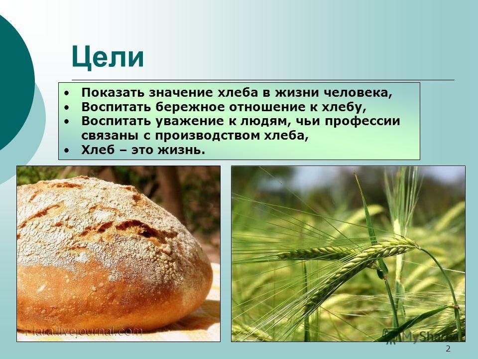 Цели Показать значение хлеба в жизни человека, Воспитать бережное отношение к хлебу, Воспитать уважение к людям, чьи профессии связаны с производством хлеба, Хлеб – это жизнь. 2