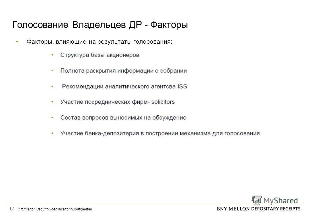 Information Security Identification: Confidential 12 Голосование Владельцев ДР - Факторы Факторы, влияющие на результаты голосования: