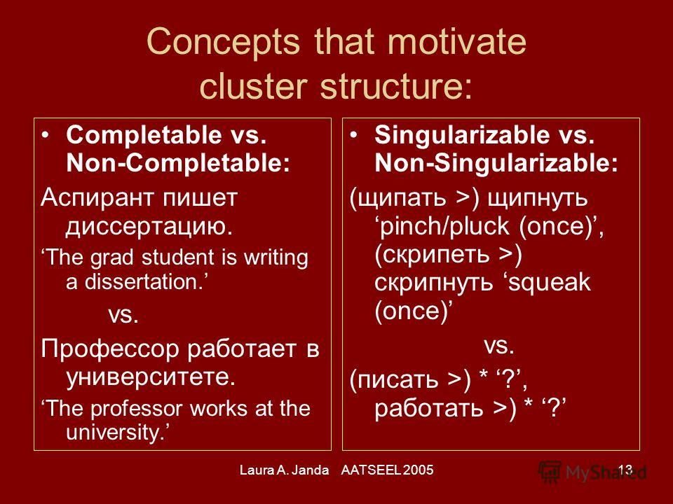 Laura A. Janda AATSEEL 200513 Concepts that motivate cluster structure: Completable vs. Non-Completable: Аспирант пишет диссертацию. The grad student is writing a dissertation. vs. Профессор работает в университете. The professor works at the univers