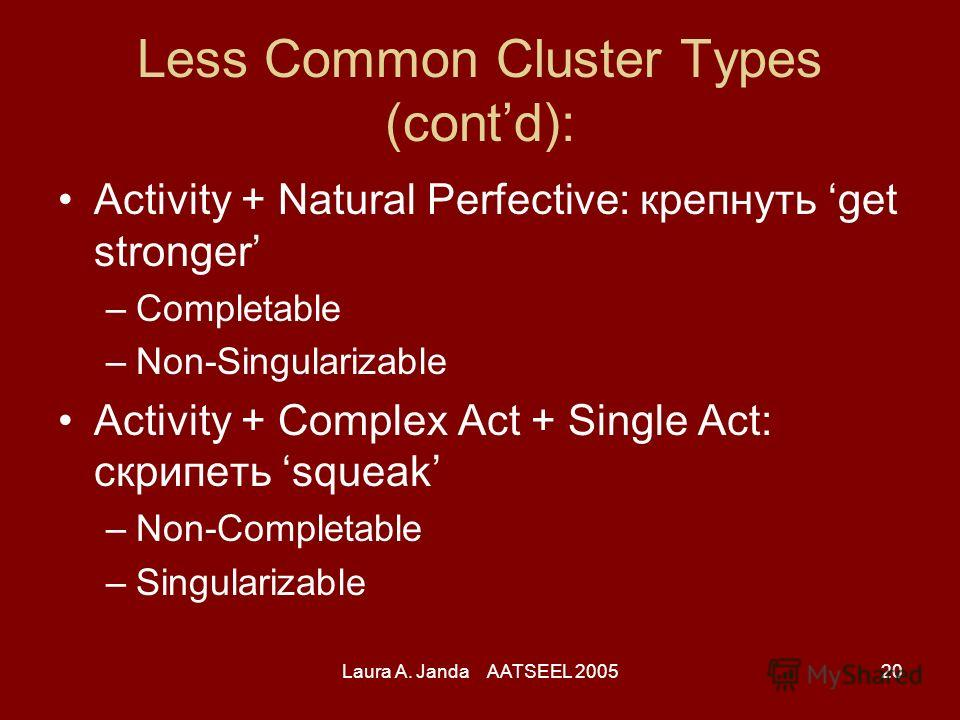 Laura A. Janda AATSEEL 200520 Less Common Cluster Types (contd): Activity + Natural Perfective: крепнуть get stronger –Completable –Non-Singularizable Activity + Complex Act + Single Act: скрипеть squeak –Non-Completable –Singularizable