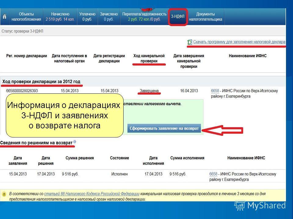Информация о декларациях 3-НДФЛ и заявлениях о возврате налога