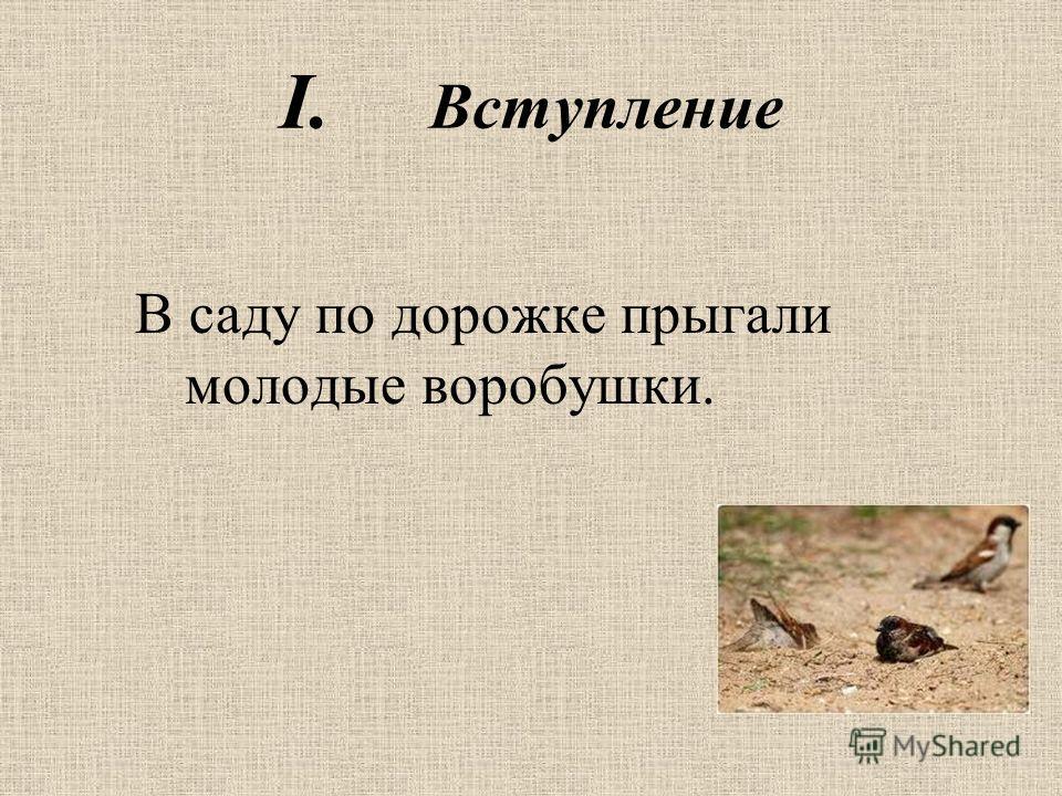 I. Вступление В саду по дорожке прыгали молодые воробушки.