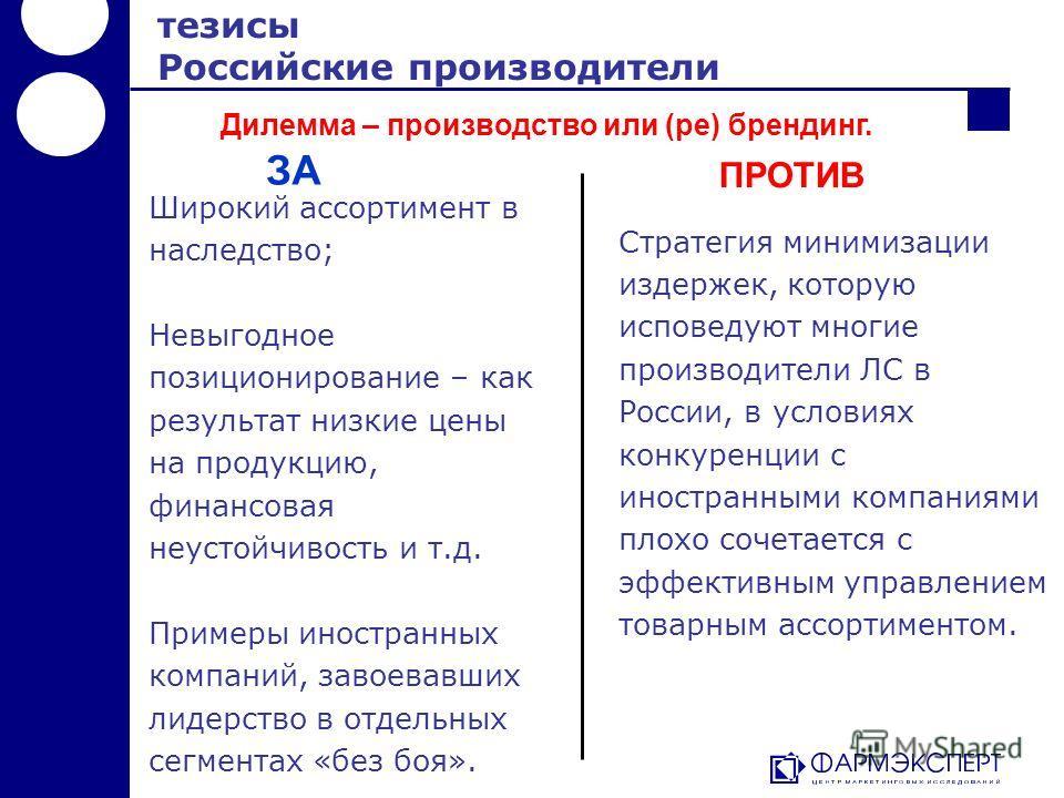 Стратегия минимизации издержек, которую исповедуют многие производители ЛС в России, в условиях конкуренции с иностранными компаниями плохо сочетается с эффективным управлением товарным ассортиментом. тезисы Российские производители Широкий ассортиме