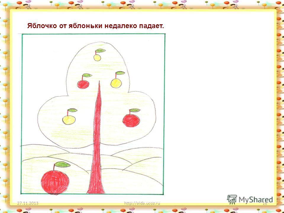 27.11.2013http://aida.ucoz.ru16 Яблочко от яблоньки недалеко падает.