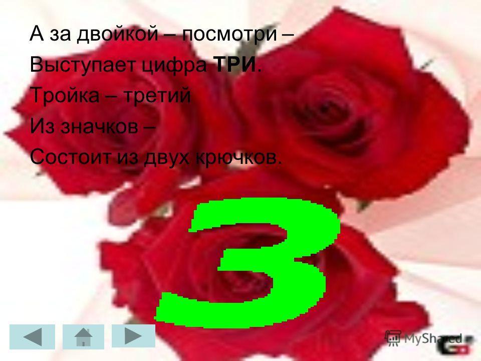А за двойкой – посмотри – Выступает цифра ТРИ. Тройка – третий Из значков – Состоит из двух крючков.