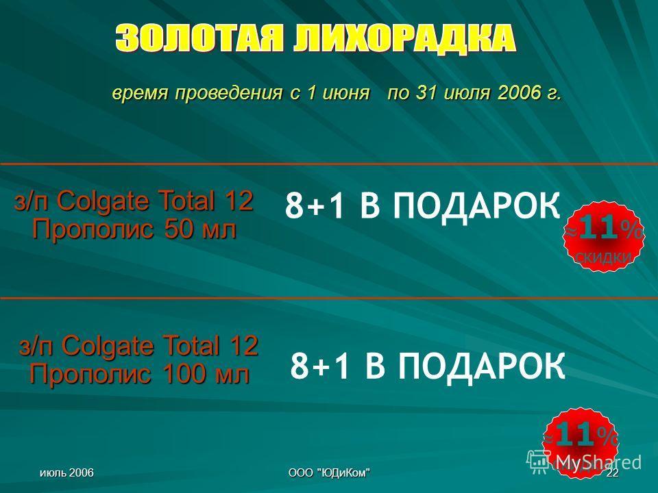 июль 2006 ООО ЮДиКом 22 8+1 В ПОДАРОК 11 % скидки 11 % скидки з/п Colgate Total 12 Прополис 50 мл 8+1 В ПОДАРОК з/п Colgate Total 12 Прополис 100 мл время проведения с 1 июня по 31 июля 2006 г.
