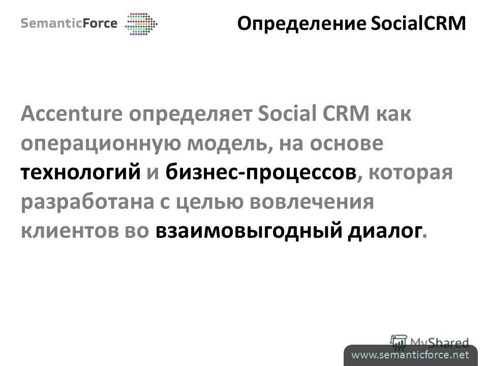 Определение SocialCRM Accenture определяет Social CRM как операционную модель, на основе технологий и бизнес-процессов, которая разработана с целью вовлечения клиентов во взаимовыгодный диалог. www.semanticforce.net