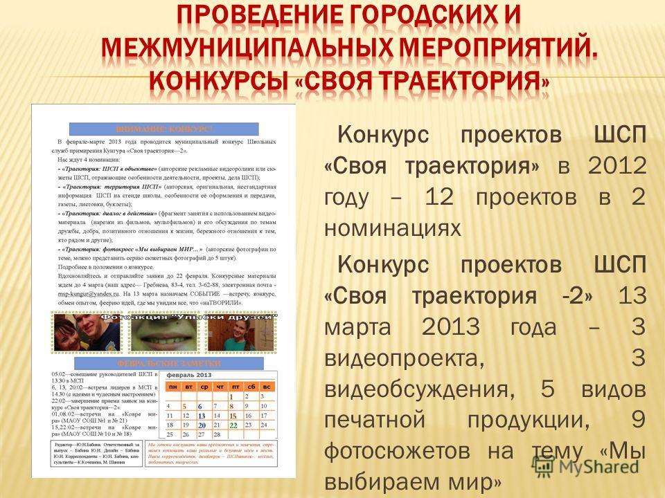 Конкурс проектов ШСП «Своя траектория» в 2012 году – 12 проектов в 2 номинациях Конкурс проектов ШСП «Своя траектория -2» 13 марта 2013 года – 3 видеопроекта, 3 видеобсуждения, 5 видов печатной продукции, 9 фотосюжетов на тему «Мы выбираем мир»