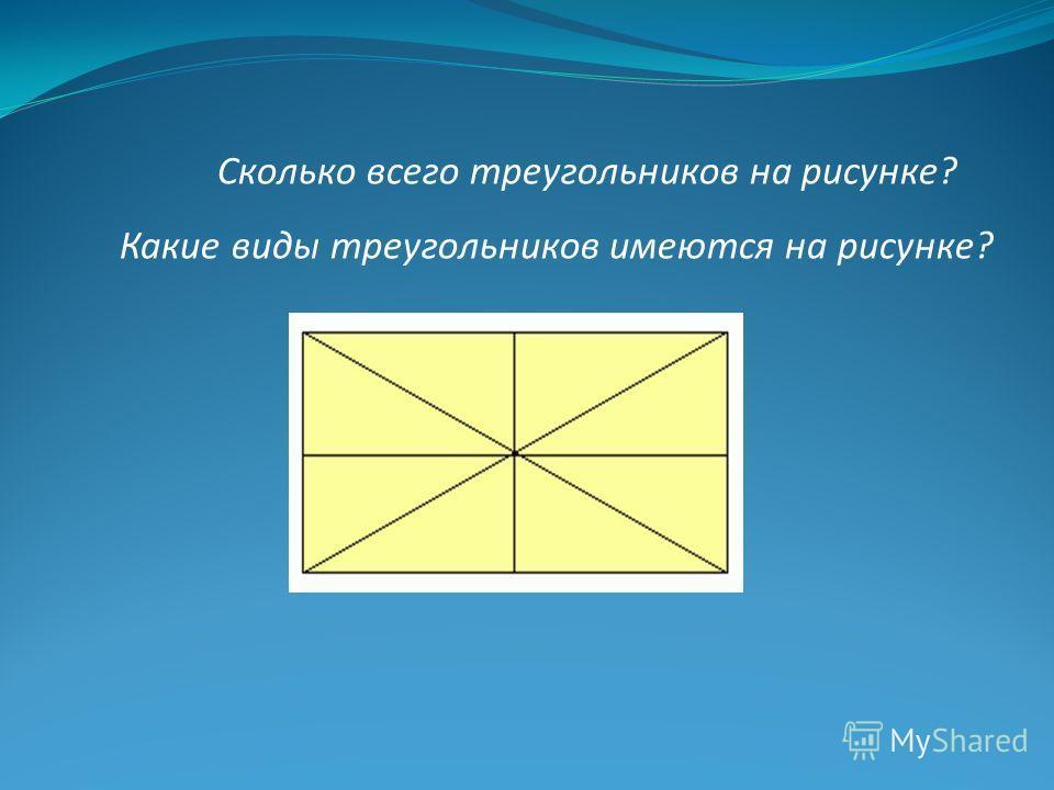Сколько всего треугольников на рисунке? Какие виды треугольников имеются на рисунке?