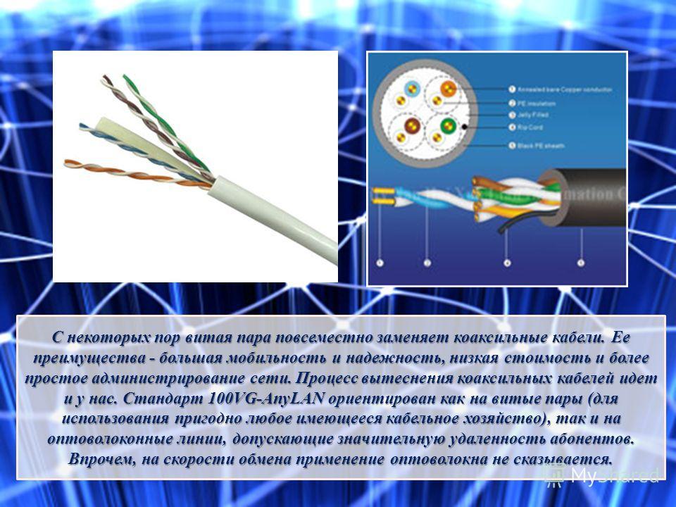 С некоторых пор витая пара повсеместно заменяет коаксильные кабели. Ее преимущества - большая мобильность и надежность, низкая стоимость и более простое администрирование сети. Процесс вытеснения коаксильных кабелей идет и у нас. Стандарт 100VG-AnyLA