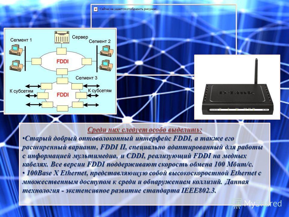 Среди них следует особо выделить: Старый добрый оптоволоконный интерфейс FDDI, а также его расширенный вариант, FDDI II, специально адаптированный для работы с информацией мультимедиа, и CDDI, реализующий FDDI на медных кабелях. Все версии FDDI подде