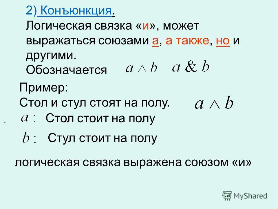 ; - 2) Конъюнкция. Логическая связка «и», может выражаться союзами а, а также, но и другими. Обозначается Стол стоит на полу Пример: Стол и стул стоят на полу. логическая связка выражена союзом «и» Стул стоит на полу