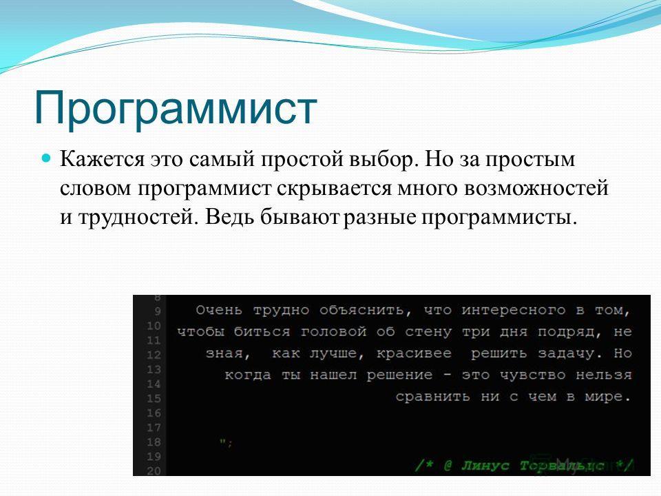 Программист Кажется это самый простой выбор. Но за простым словом программист скрывается много возможностей и трудностей. Ведь бывают разные программисты.