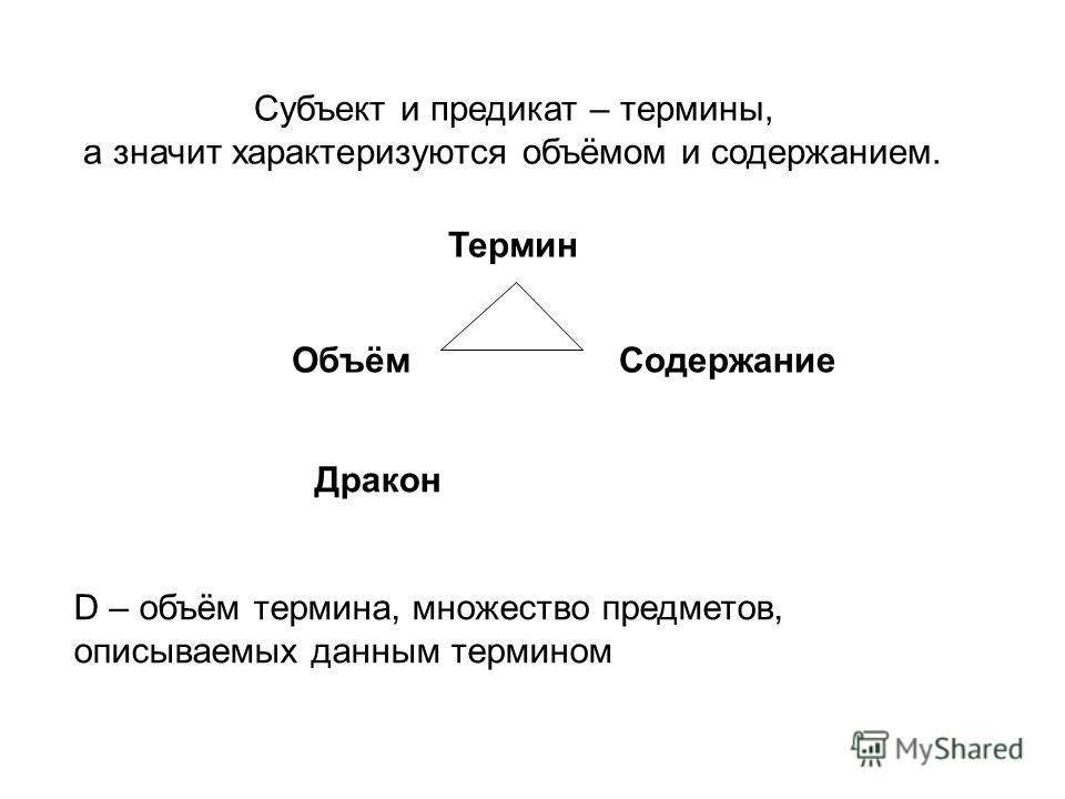 Субъект и предикат – термины, а значит характеризуются объёмом и содержанием. Термин ОбъёмСодержание Дракон D – объём термина, множество предметов, описываемых данным термином