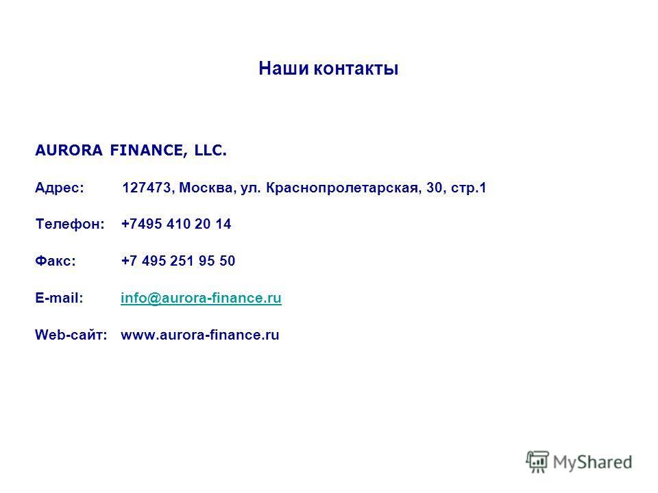 Наши контакты AURORA FINANCE, LLC. Адрес: 127473, Москва, ул. Краснопролетарская, 30, стр.1 Телефон: +7495 410 20 14 Факс: +7 495 251 95 50 E-mail: info@aurora-finance.ruinfo@aurora-finance.ru Web-сайт: www.aurora-finance.ru