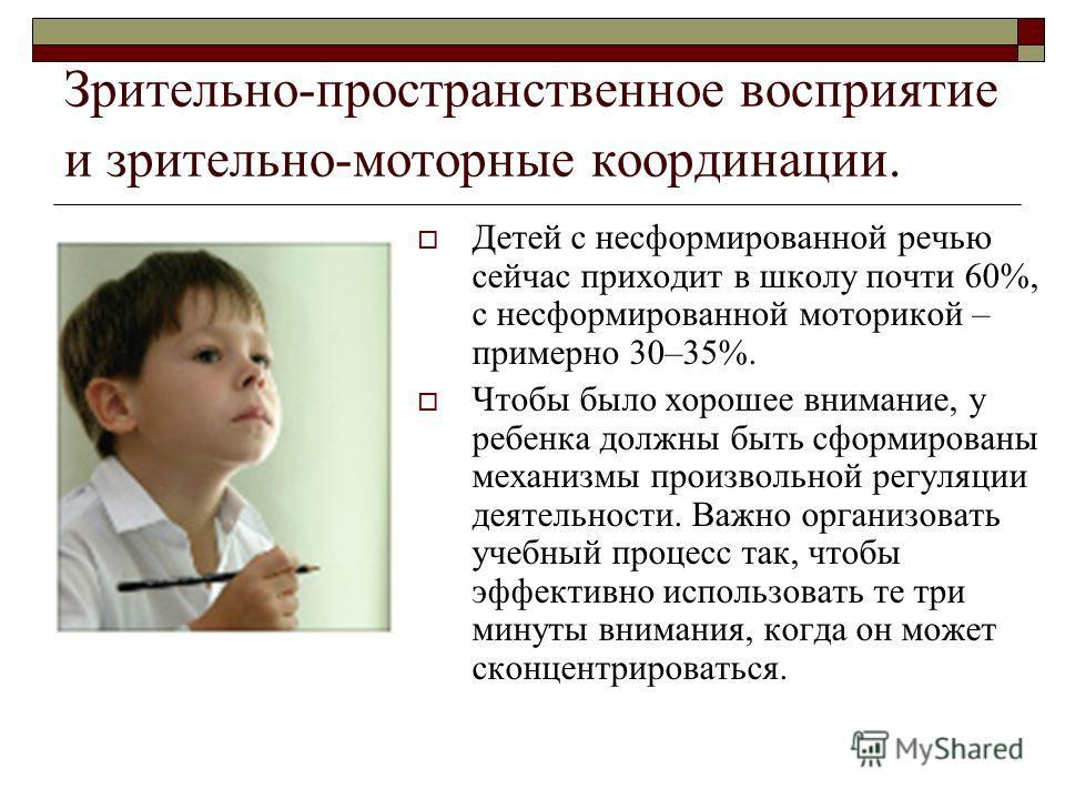 Зрительно-пространственное восприятие и зрительно-моторные координации. Детей с несформированной речью сейчас приходит в школу почти 60%, с несформированной моторикой – примерно 30–35%. Чтобы было хорошее внимание, у ребенка должны быть сформированы