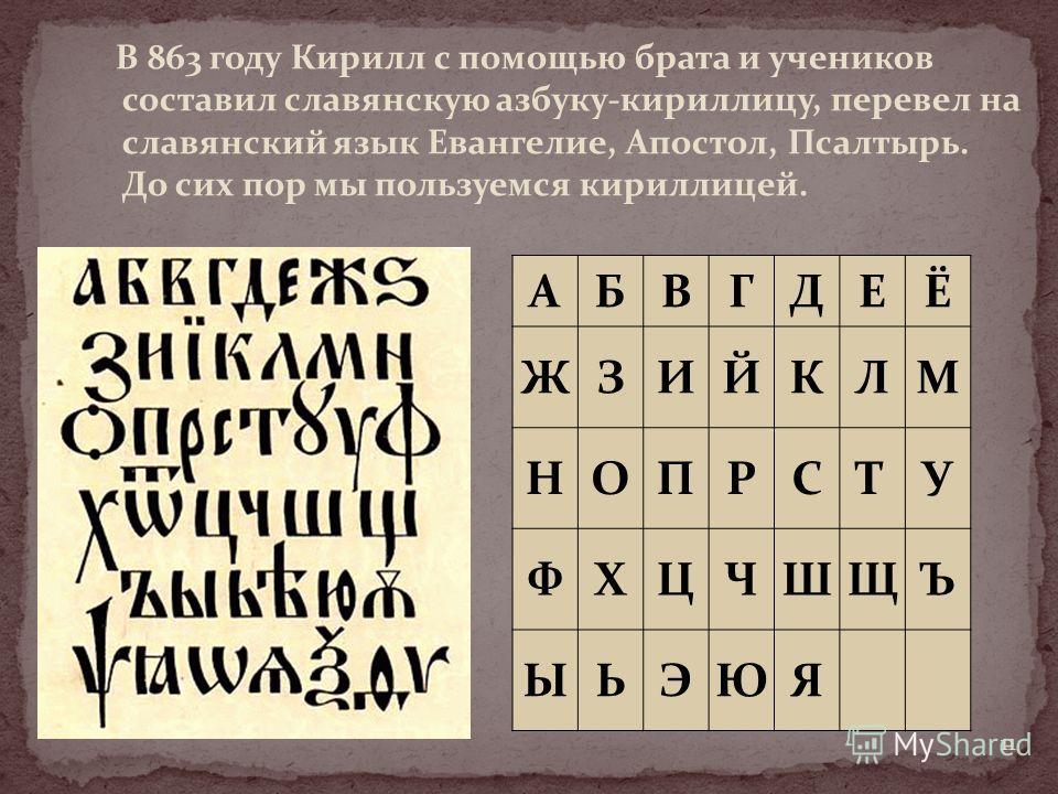 В 863 году Кирилл с помощью брата и учеников составил славянскую азбуку-кириллицу, перевел на славянский язык Евангелие, Апостол, Псалтырь. До сих пор мы пользуемся кириллицей. АБВГДЕЁ ЖЗИЙКЛМ НОПРСТУ ФХЦЧШЩЪ ЫЬЭЮЯ 11