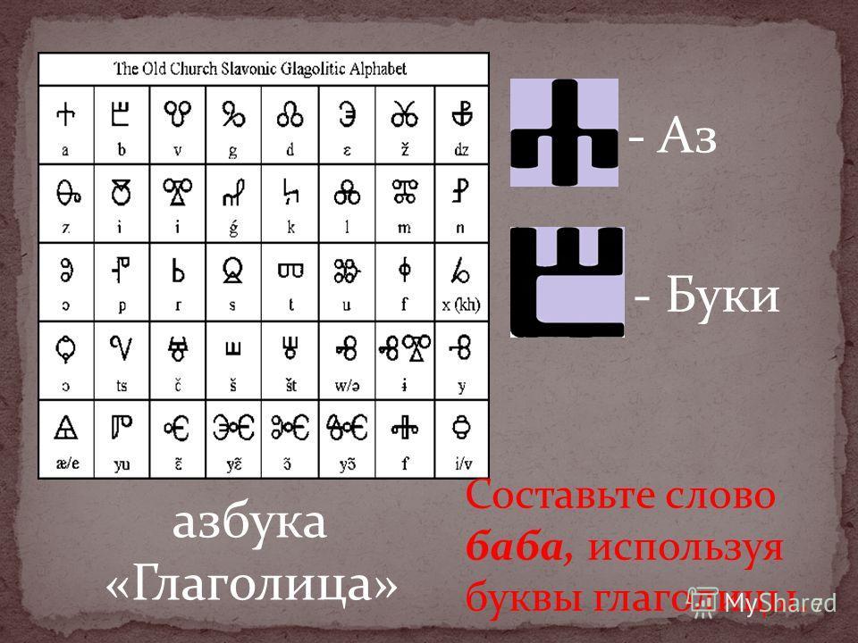 - Буки - Аз азбука «Глаголица» 7 Составьте слово баба, используя буквы глаголицы.