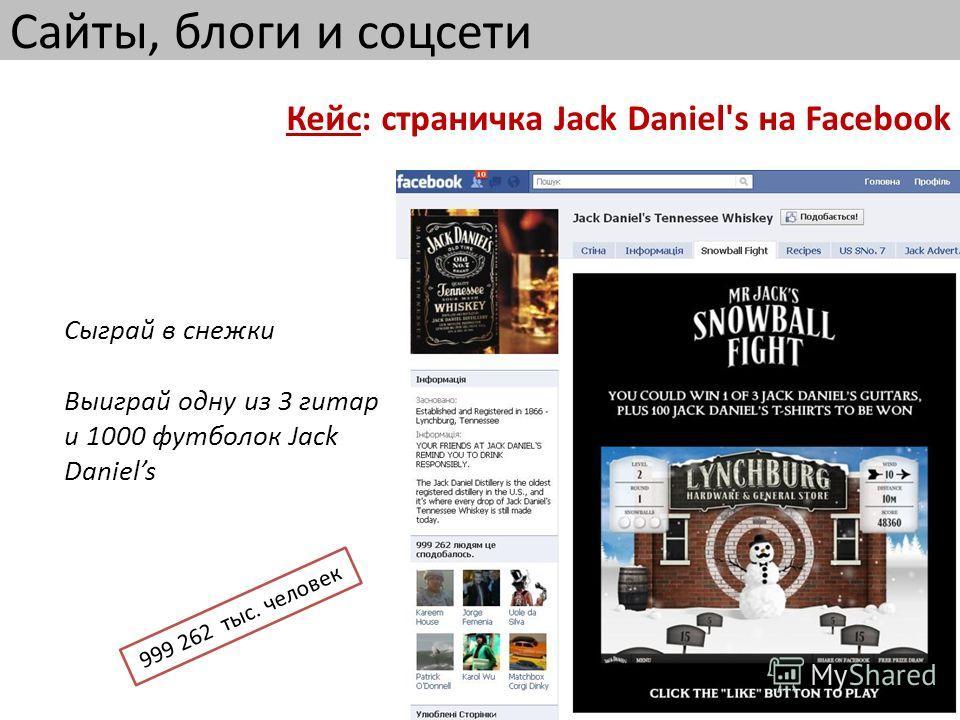 Сайты, блоги и соцсети Кейс: страничка Jack Daniel's на Facebook Сыграй в снежки Выиграй одну из 3 гитар и 1000 футболок Jack Daniels 999 262 тыс. человек