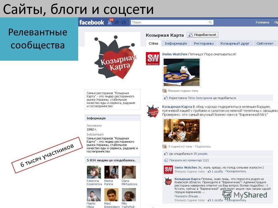 Сайты, блоги и соцсети 6 тысяч участников Релевантные сообщества