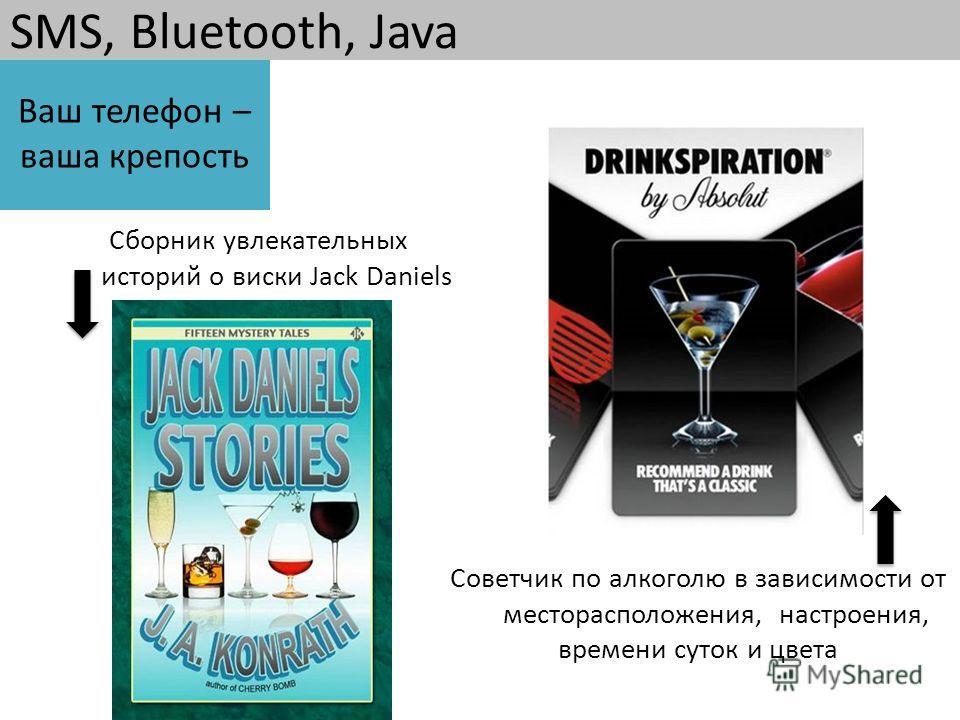 SMS, Bluetooth, Java Сборник увлекательных историй о виски Jack Daniels Советчик по алкоголю в зависимости от месторасположения, настроения, времени суток и цвета Ваш телефон – ваша крепость