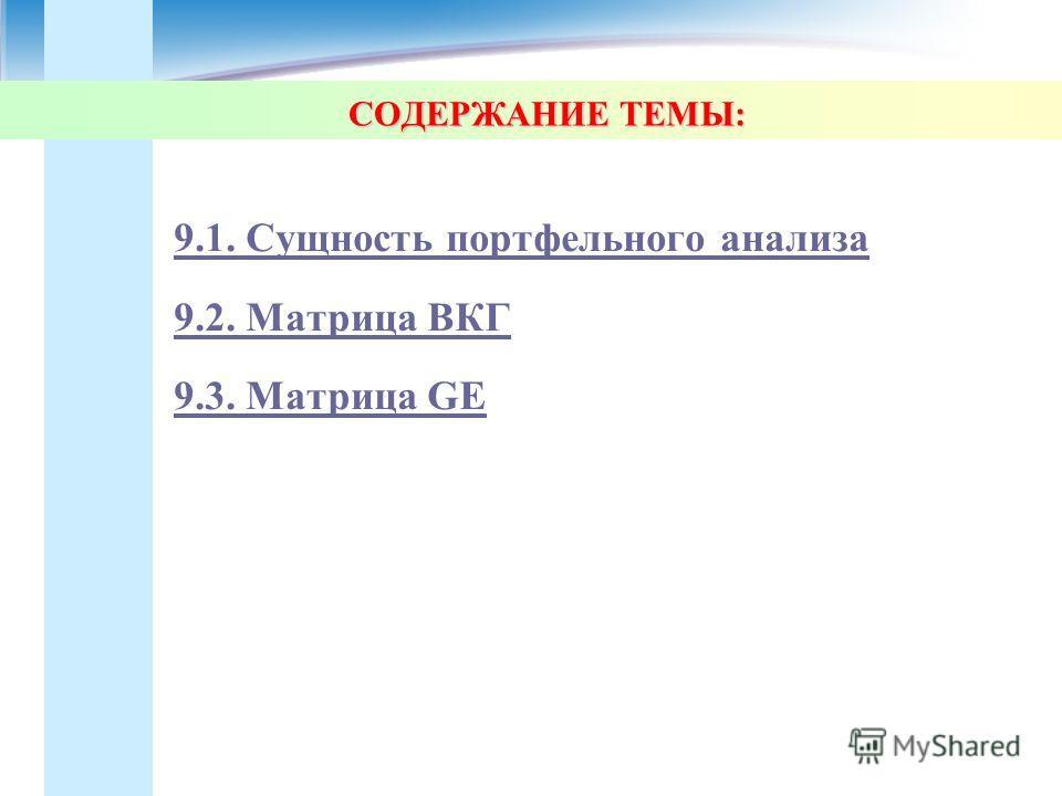 СОДЕРЖАНИЕ ТЕМЫ: 9.1. Сущность портфельного анализа 9.2. Матрица ВКГ 9.3. Матрица GE