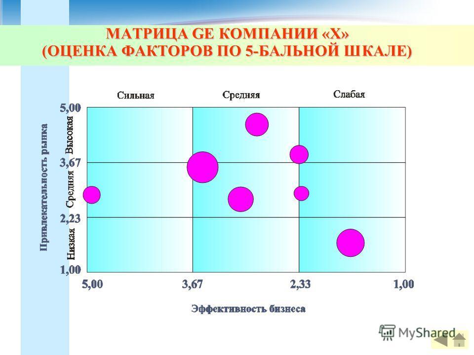 МАТРИЦА GE КОМПАНИИ «Х» (ОЦЕНКА ФАКТОРОВ ПО 5-БАЛЬНОЙ ШКАЛЕ)