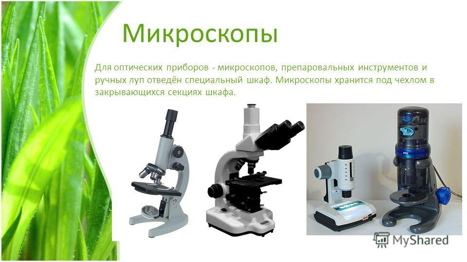 Микроскопы Для оптических приборов - микроскопов, препаровальных инструментов и ручных луп отведён специальный шкаф. Микроскопы хранится под чехлом в закрывающихся секциях шкафа.