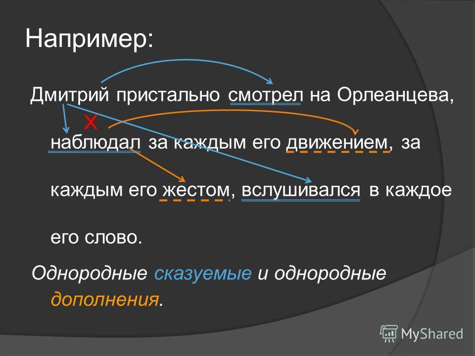 Например: Дмитрий пристально смотрел на Орлеанцева, наблюдал за каждым его движением, за каждым его жестом, вслушивался в каждое его слово. Однородные сказуемые и однородные дополнения.