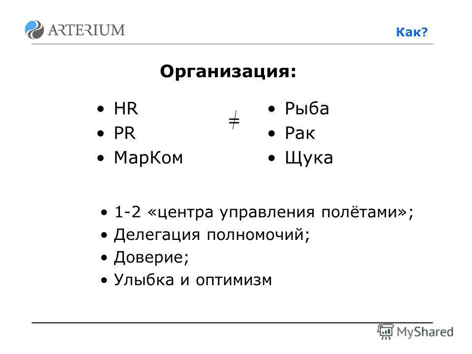 HR PR МарКом Рыба Рак Щука Организация: = 1-2 «центра управления полётами»; Делегация полномочий; Доверие; Улыбка и оптимизм Как?